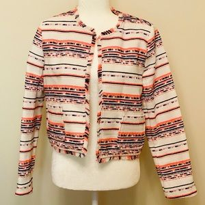 Belle Vere Tweed Fringed Blazer- Size Small